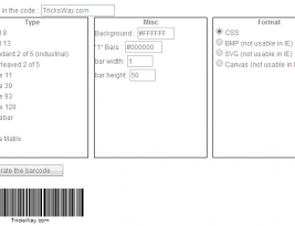 Create own Bar Code using jquery