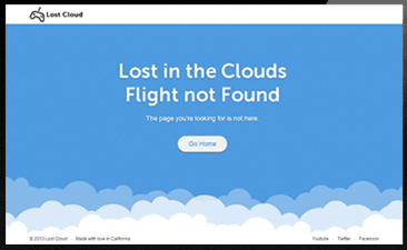 Lost in cloud 404 error page
