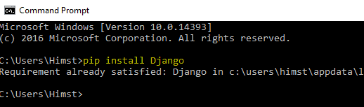 Installing Django on windows