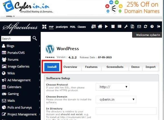 wordpress auto install using softaculous auto installer.