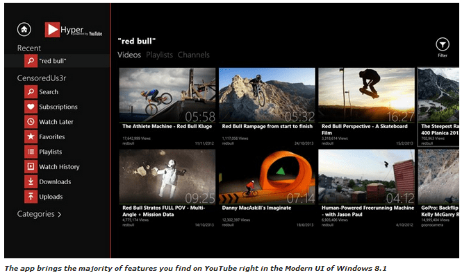 YouTube apps for windows 8.1