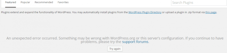 wordpress An unexpected error occurred