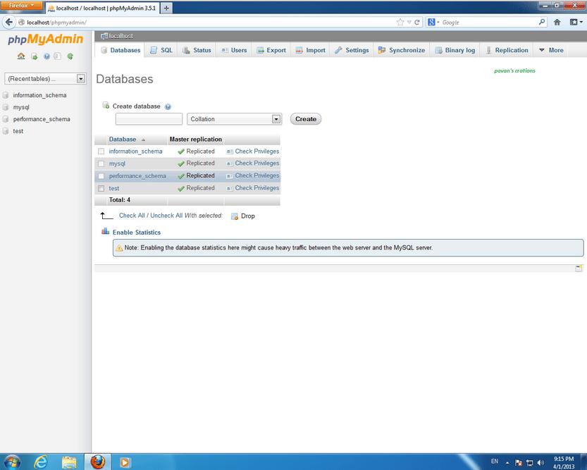 wamp server php myadmin setting for phishing