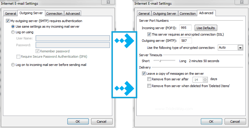 email setting for desktop outlook 2010